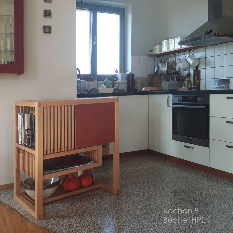Holzblock Küche Herd Arbeitsplatte Massivholzküche schöne Fronten